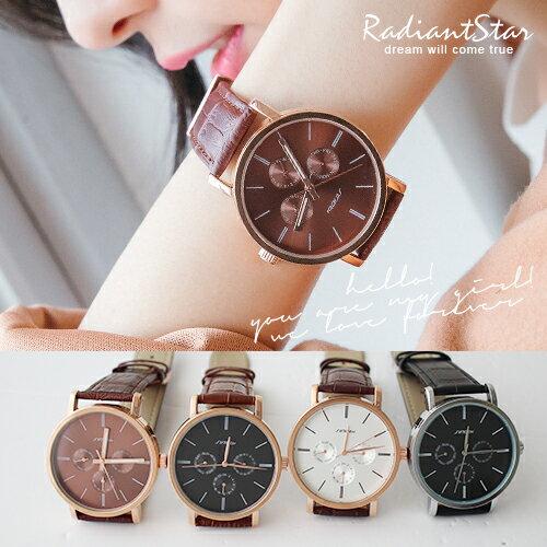 香港SINOBI回憶珍藏彩粙光3ATM真三眼皮革情侶手錶對錶【WSI9536G】璀璨之星☆