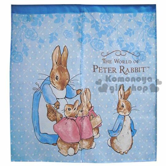 〔小禮堂〕Peter Rabbit 彼得兔 中長門簾《藍.站姿.玫瑰》85x90cm