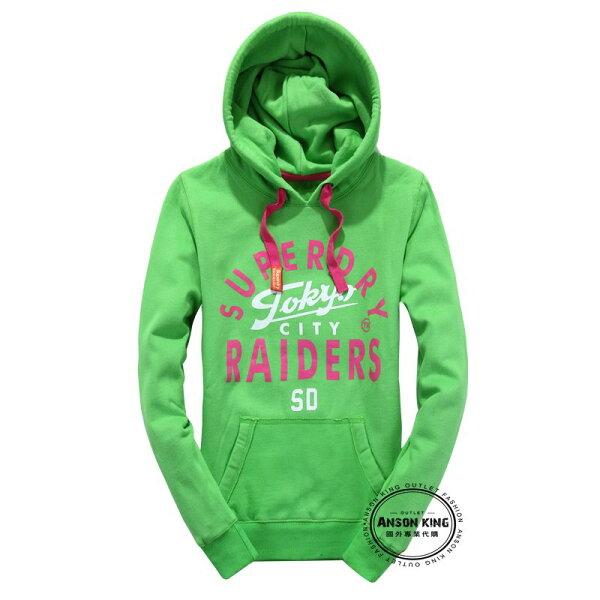 [女款] Outlet英國 極度乾燥 Superdry Windtrekker  加厚 秋冬抓絨 連帽 T恤 長袖 上衣 亮綠