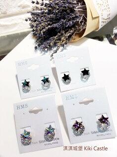 淇淇城堡 韓國飾品 E225 精緻美感 亮眼水鑽星星*水鑽圈圈 耳環 鋼針耳針