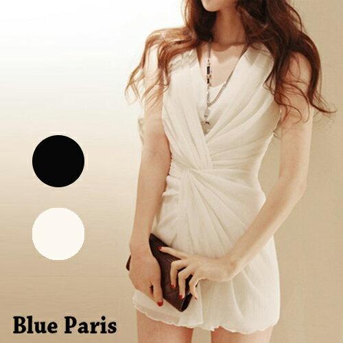 短洋裝 - 韓版氣質無袖捲摺修身連衣裙【29049】藍色巴黎《2色》現貨+預購 0