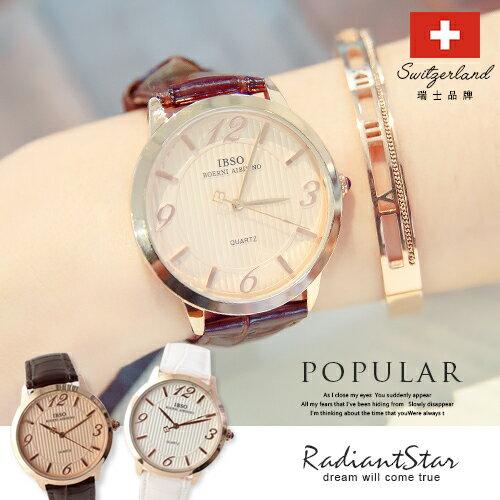瑞士IBSO布列塔尼直紋錶盤真皮手錶【WIB3828】璀璨之星☆