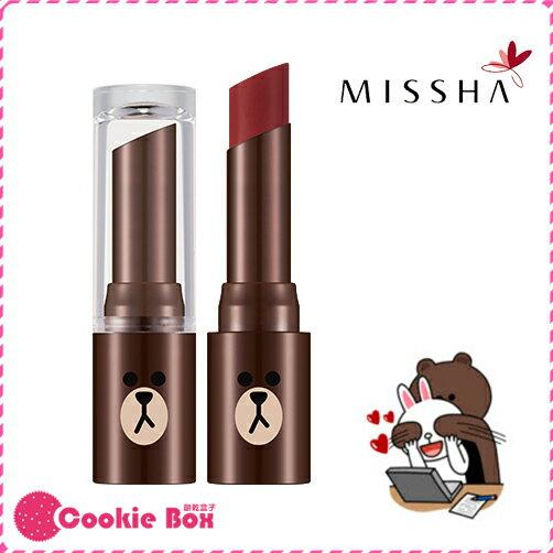 韓國 MISSHA LINE 熊大 唇膏 乾燥玫瑰色系 4.1g 口紅 咬唇 聯名 *餅乾盒子*