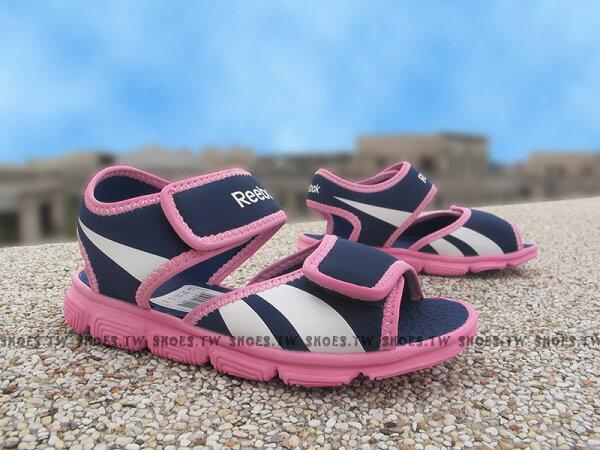 Shoestw【V70549】Reebok 涼鞋 中童鞋 免綁帶 紫色 桃紅底
