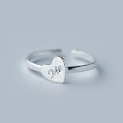 925純銀戒指開口戒~平面拉絲愛心 七夕情人節 女飾品73dt526~ ~~米蘭 ~ ~
