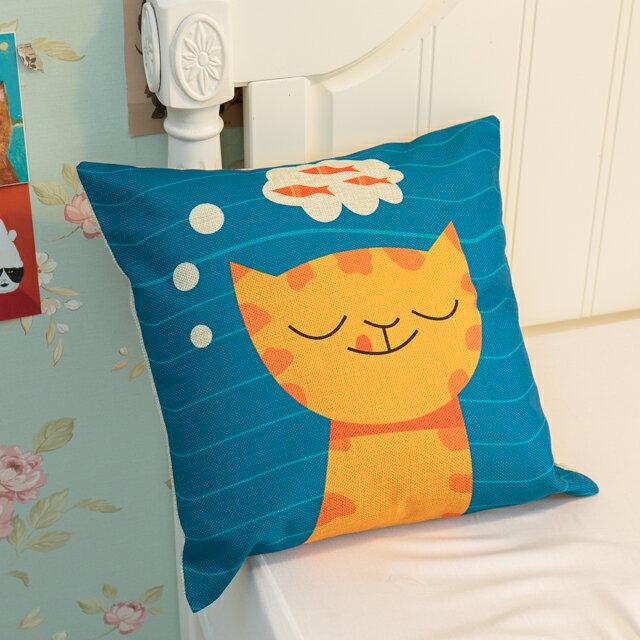 貓咪想吃魚抱枕  棉麻材質  45cmX45cm 花色獨特 觸感扎實 2