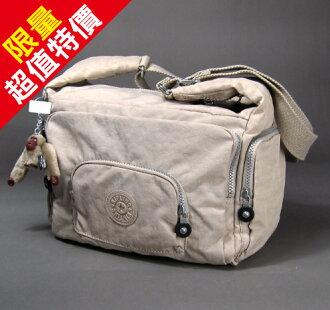 【momi宅便舖】【Kipling 比利時品牌 】經典款戶外休閒輕便包包(斜背包/側背包) / 杏色