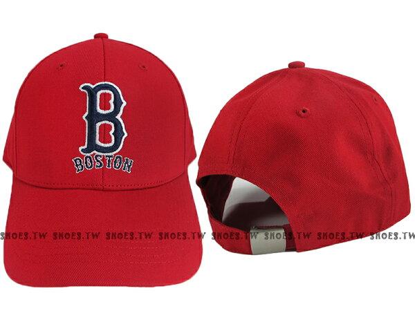 Shoestw【5032066-150】MLB 棒球帽 調整帽 老帽 紅襪隊 紅色 凸繡