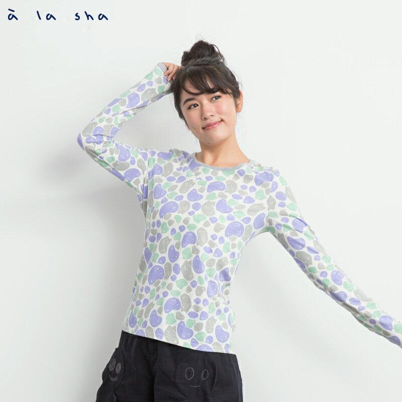 a la sha Qummi 彩色Q咪印花撞色T恤 0