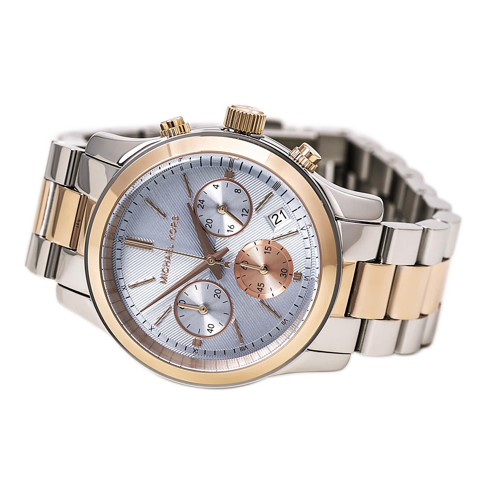 美國Outlet 正品代購 Michael Kors MK 三眼 雙色精鋼 滿鑽 手錶 腕錶 MK6166 5
