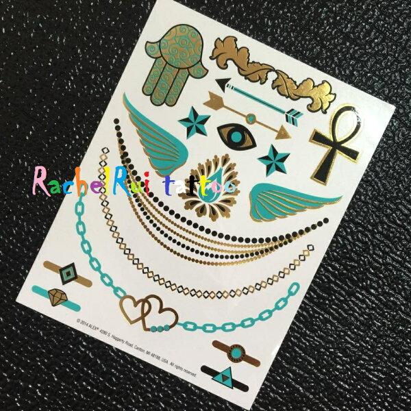 ★RachelRui★金屬紋身貼紙,三環水藍項鍊戒指手鍊