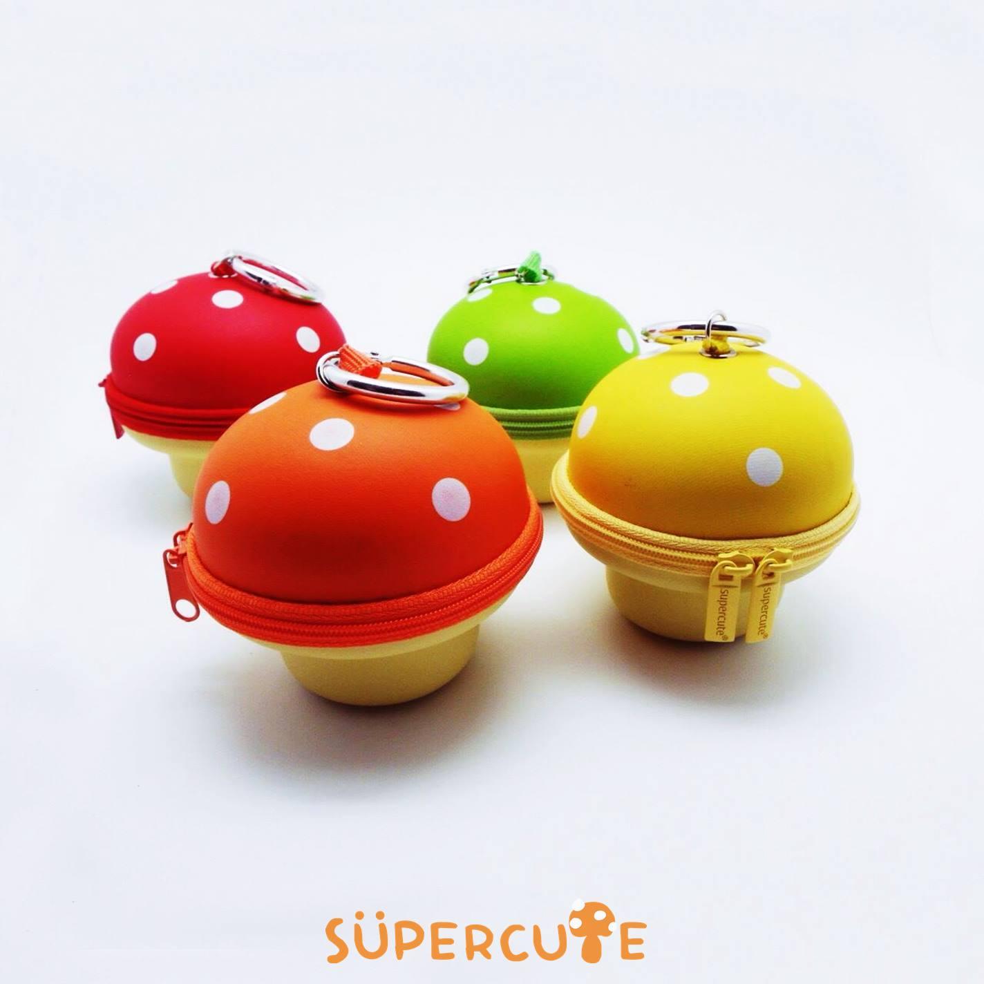 Supercute 立體磨菇鑰匙包 ^(四色^) ~  好康折扣