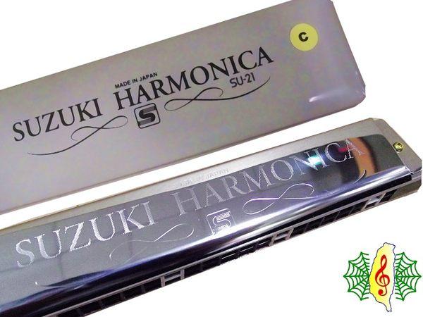 [網音樂城] suzuki 鈴木 白格 口琴 21孔 複音 SU-21 日本製造 (附 硬盒 擦拭布 指法表 )