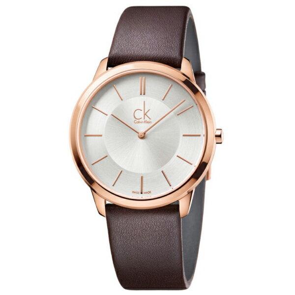 CK MINIMAL(K3M216G6)玫瑰金簡約時尚腕錶/白面40mm
