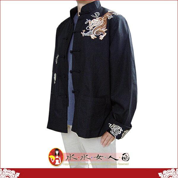 【水水女人國】~中國風男士唐裝~肩上繡龍。霸氣十足的棉麻翻袖長袖外套*黑色