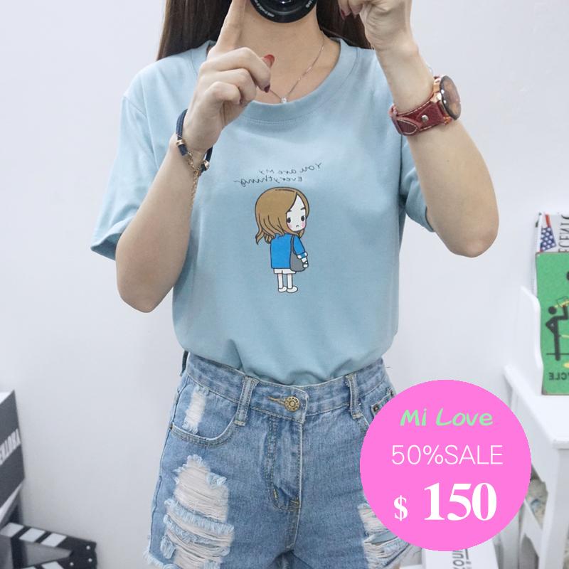 MiLove 百搭圓領上衣太陽的後裔宋慧喬印花短袖T恤
