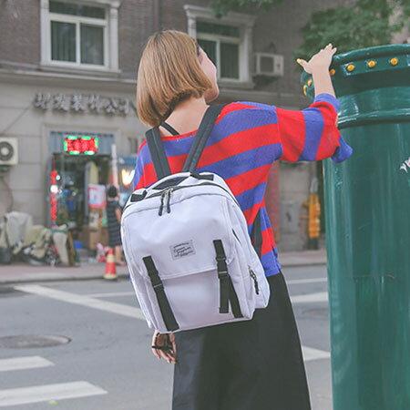 後背包 學院風帆布包電腦包書包【O3131】☆雙兒網☆ 5
