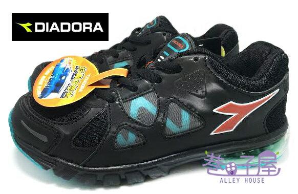 【巷子屋】義大利國寶鞋-DIADORA迪亞多納 大童寬楦抗壓大氣墊運動跑鞋 [9950] 黑 超值價$498