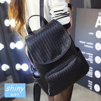 【P106】shiny藍格子-潮流學院.春夏新款時尚編制雙肩書包後背包
