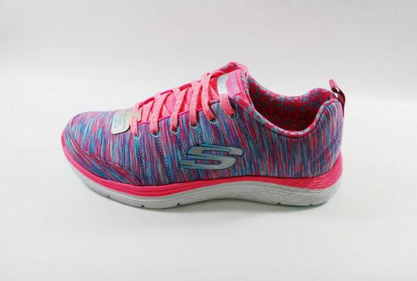 SKECHERS AIR-COOLED 女款 藍粉條紋 加強透氣型 跑鞋 健走 12223HPBL [陽光樂活]