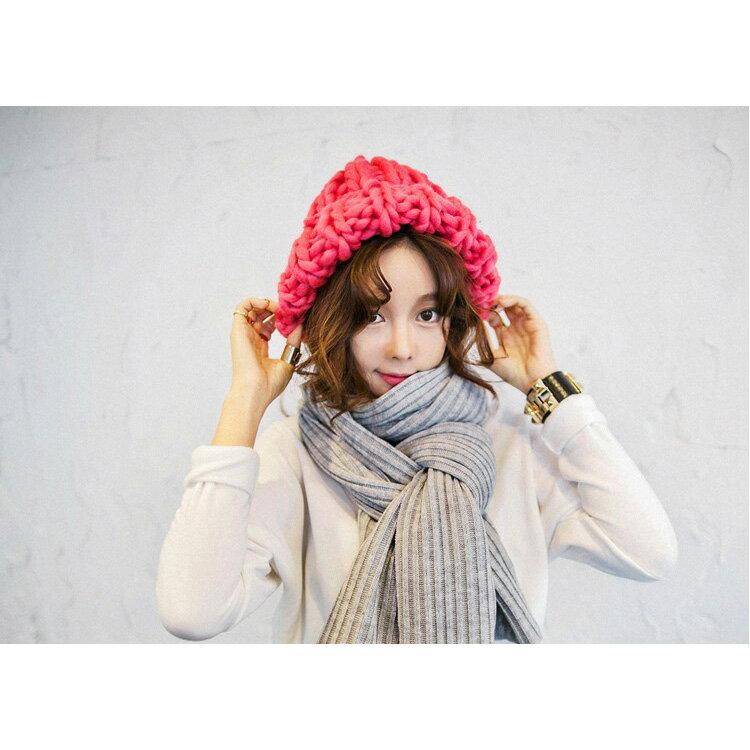 毛帽 素色粗線麻花捲邊針織毛帽【QI1599】 BOBI  10/13 2