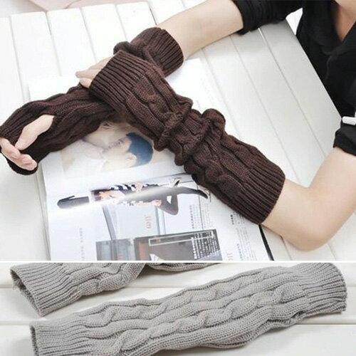 針織手套 加長毛線手臂套保暖露趾針織手套【QI7002】 BOBI  11/03 0