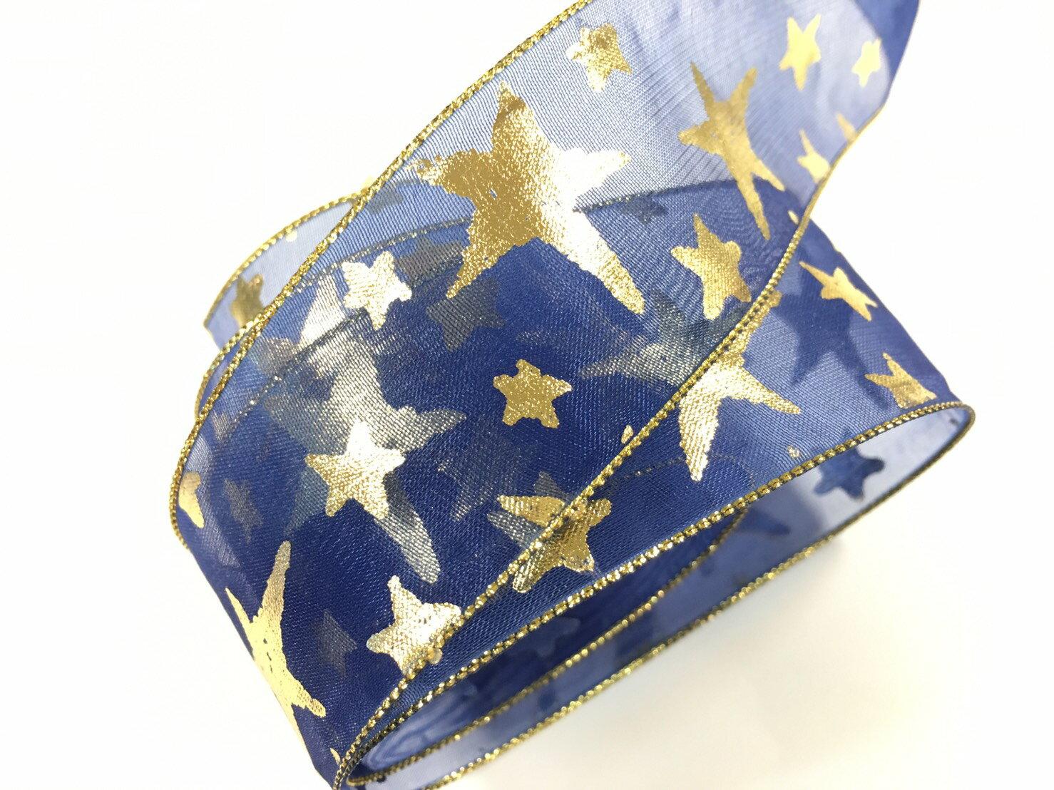 網紗緞帶-聖誕彩色星星 38mm 3碼裝 (5色) 0