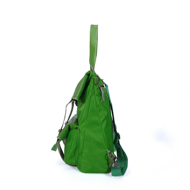 BEIBAOBAO夏季旅行防水布配真皮兩用後揹包(橄欖綠) 3