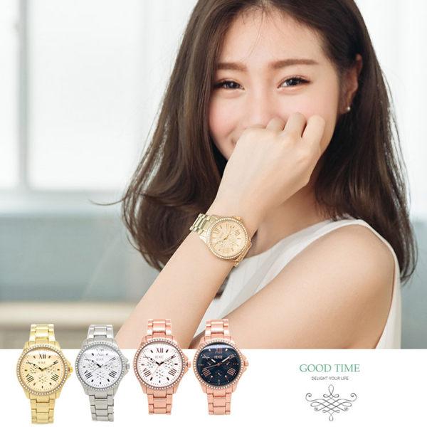 手錶 炫金 玫瑰金  華麗鑽框  羅馬時刻 仿三眼裝飾 時尚女錶 《好時光》