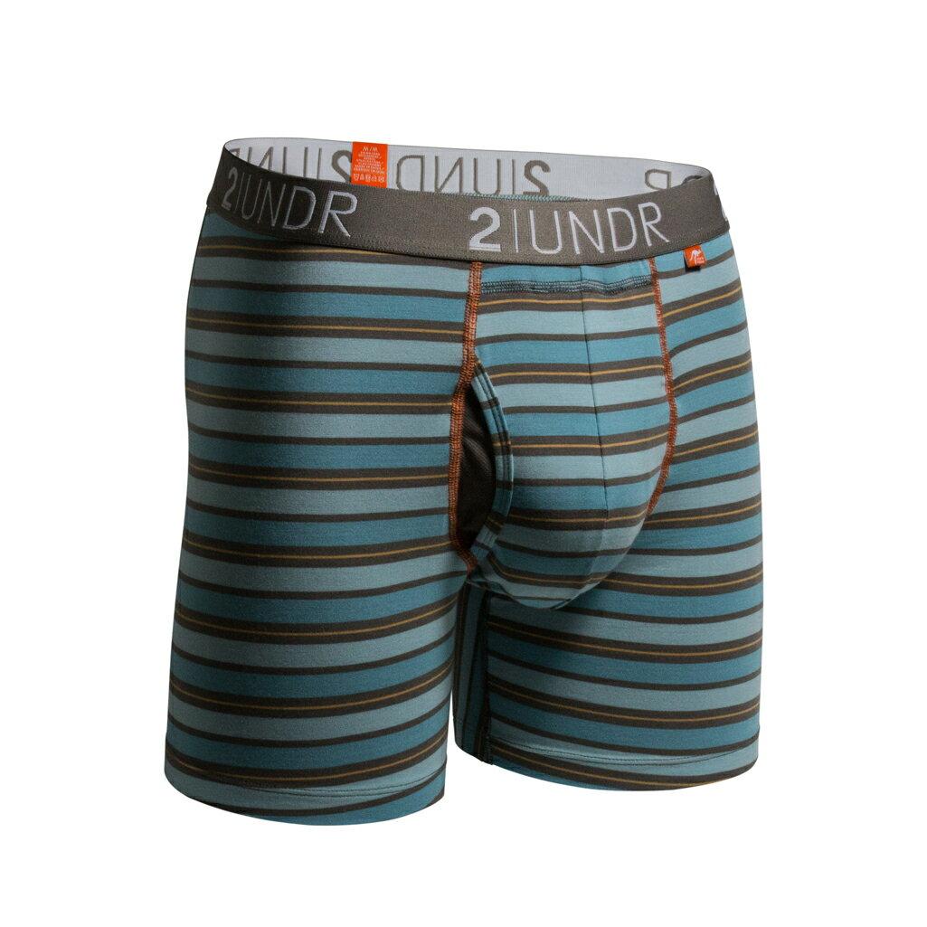 2UNDR【SWING SHIFT】男性內著Blue Orange Stripes(6吋) - 限時優惠好康折扣