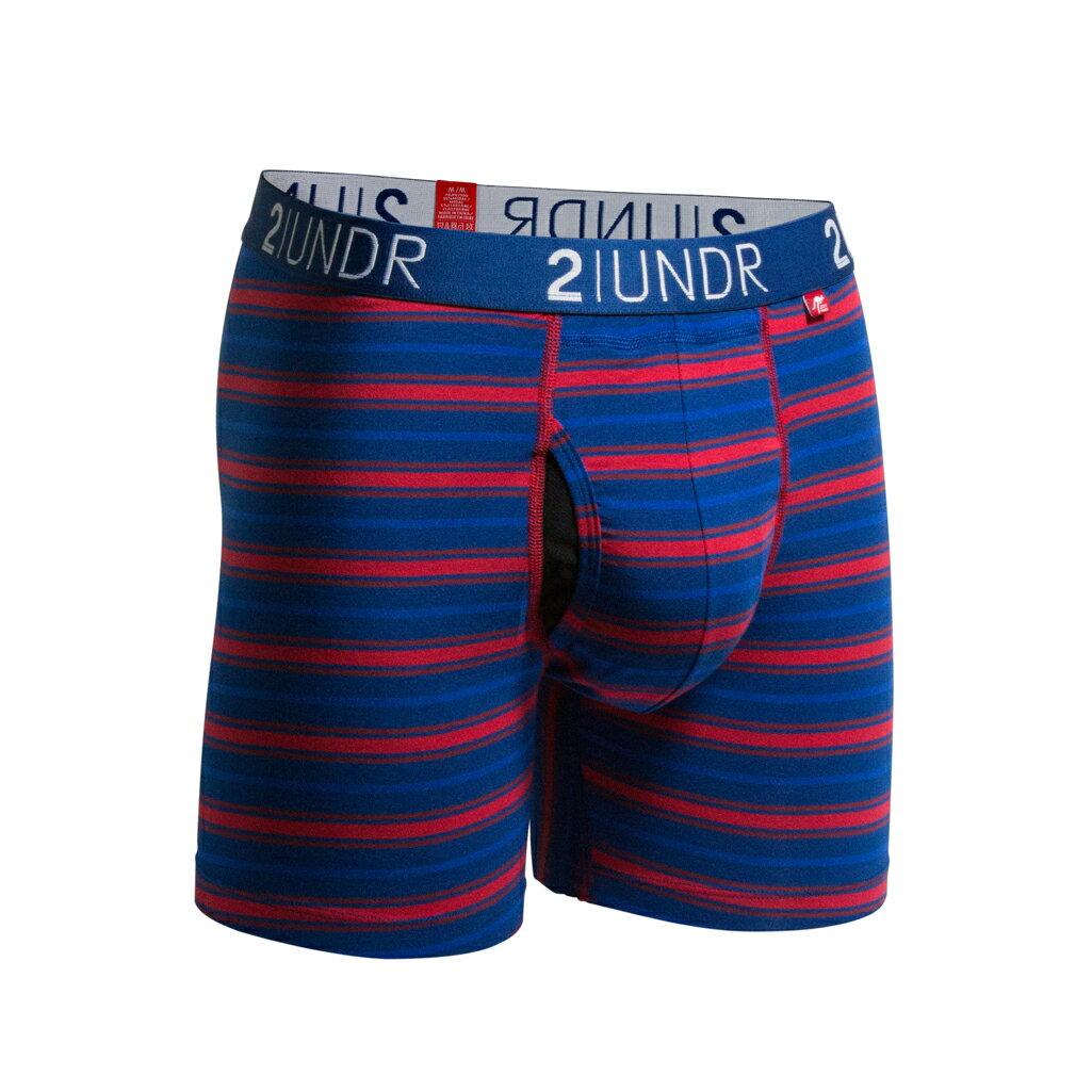 2UNDR【SWING SHIFT】男性內著Navy Red Stripes(6吋) - 限時優惠好康折扣