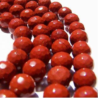 [紅石]天然寶石 8mm切角圓形珠 diy飾品散珠 0