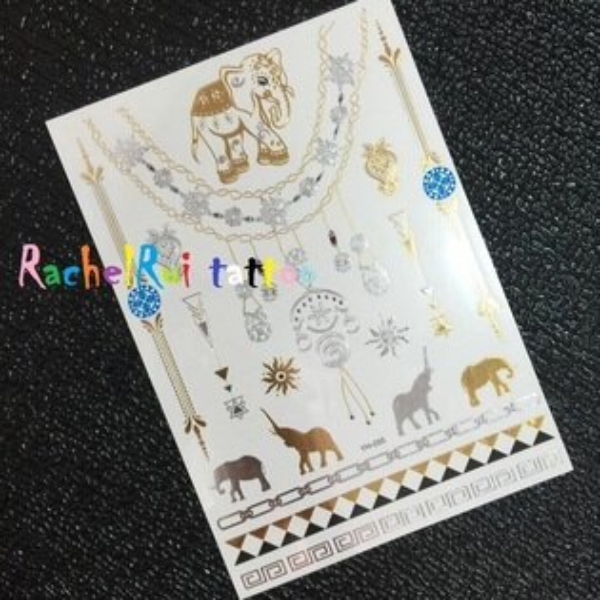 ★RachelRui★金屬紋身貼紙,泰國大象