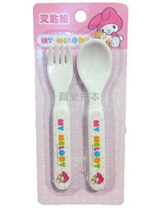 【真愛日本】16042100025 叉匙組-MM糖果 美樂蒂 Melody 三麗鷗 叉子 筷子 餐具 嬰幼兒