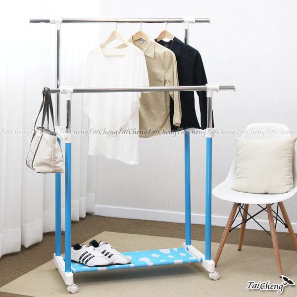 日本MAKINOU 晾衣架 馬卡龍多功能伸縮雙層衣架-附隔層布-台灣製 衣櫃吊掛包包 JA雜貨牧野家