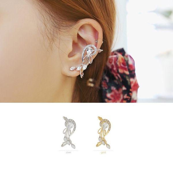 PS Mall 韓版新款 個性誇張水鑽豎琴花朵 耳釘 無耳洞 假耳釘 飾品 首飾 耳環【G1853】
