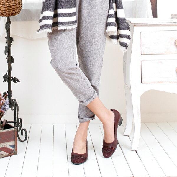 Gabor 鑽飾寬楦優雅低跟鞋 酒紅 2