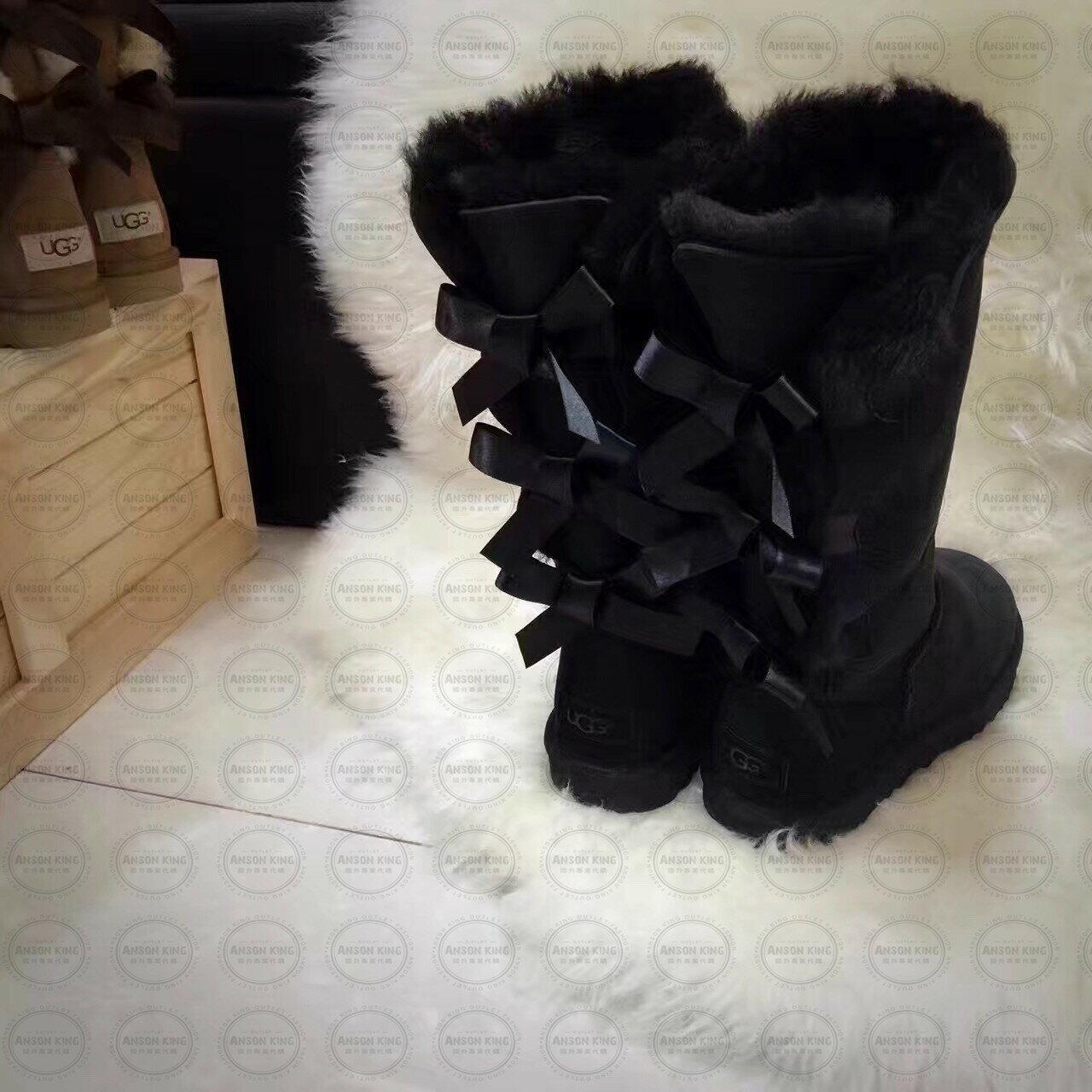OUTLET正品代購 澳洲 UGG 一體女式絲帶蝴蝶結 保暖 真皮羊皮毛 雪靴 短靴 黑色 2
