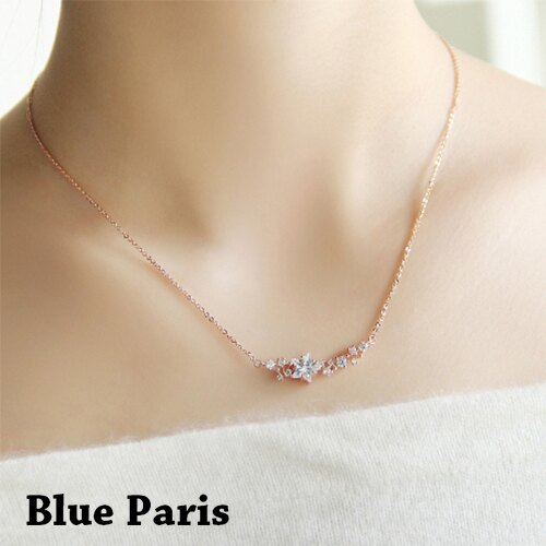 項鍊 - 閃耀星星水鑽造型鎖骨鏈【21542】 藍色巴黎 - 現貨+預購  【防過敏】 0