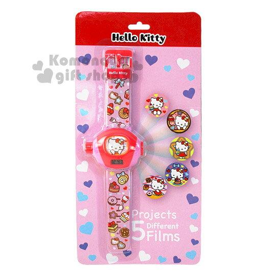 〔小禮堂〕Hello Kitty 兒童投影手錶~粉.甜點滿版.泡殼~可投影5種圖案