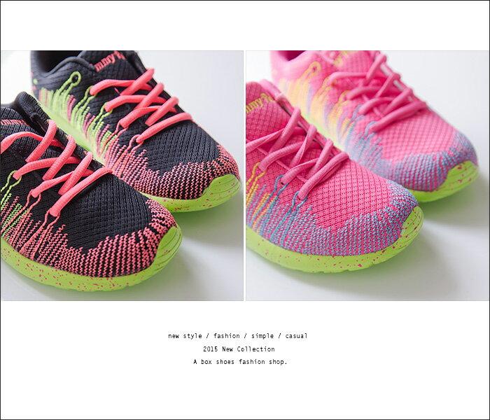 格子舖*【AJ13024】嚴選螢光編織炫彩輕量化 繫帶休閒鞋 運動慢跑鞋 帆布鞋 2色 1