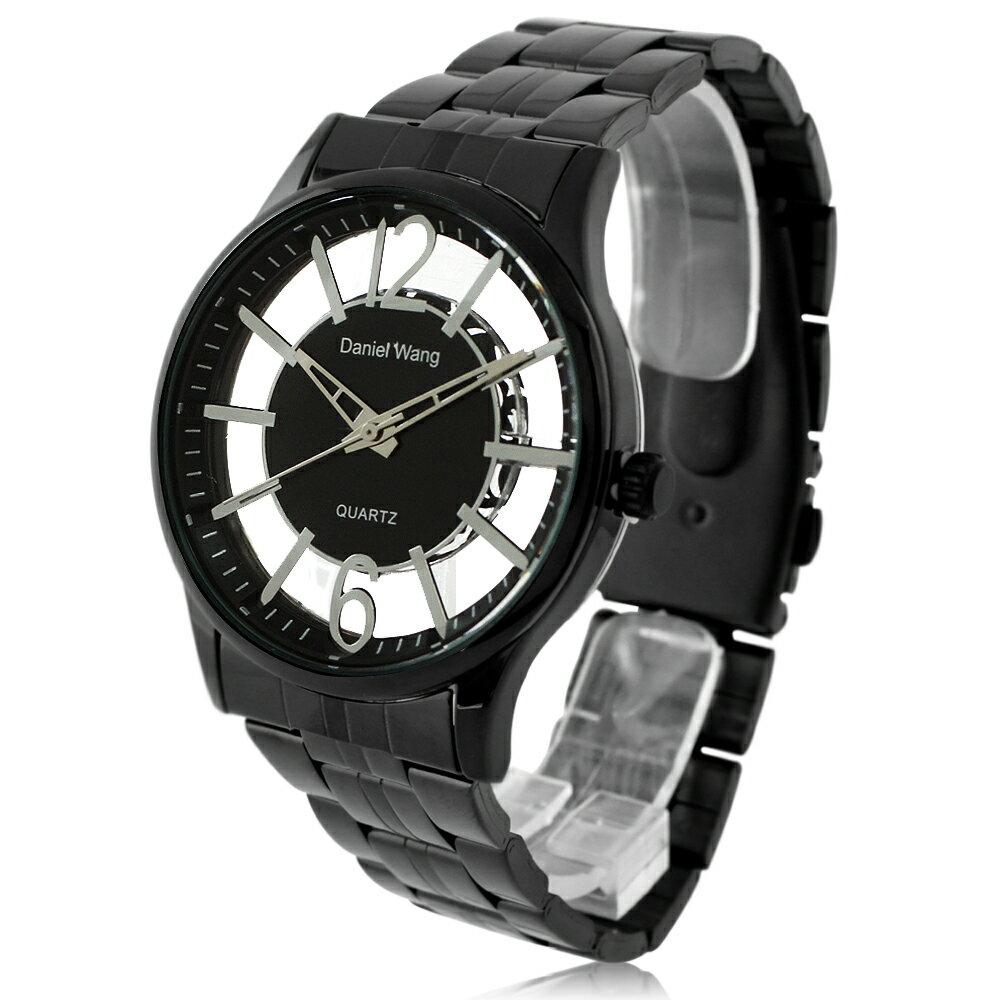 Daniel Wang 3148 中性炫彩鏤空數字黑色鐵帶錶 0
