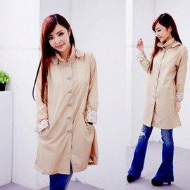 ●橘永親子●黑色(豹紋袖)日本超好看時尚雨衣 風衣 風雨衣-有二色J1005