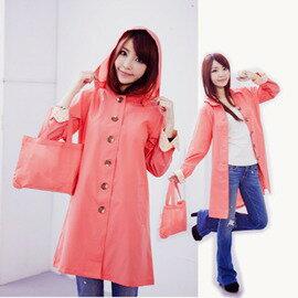 ●橘永親子●橘粉色碎花袖-日本超好看時尚雨衣 風衣 風雨衣K1001