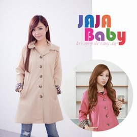 ●Rainbooboo●日本風行 袖口領口花布配色 防潑水加工 時尚風衣 時尚雨衣【J1002】