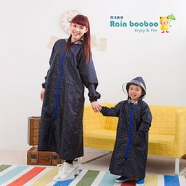 ●Rainbooboo雨滴寶寶●黑底星點 無毒親子雨衣 / 兒童雨衣〈兒童〉【 G1049】