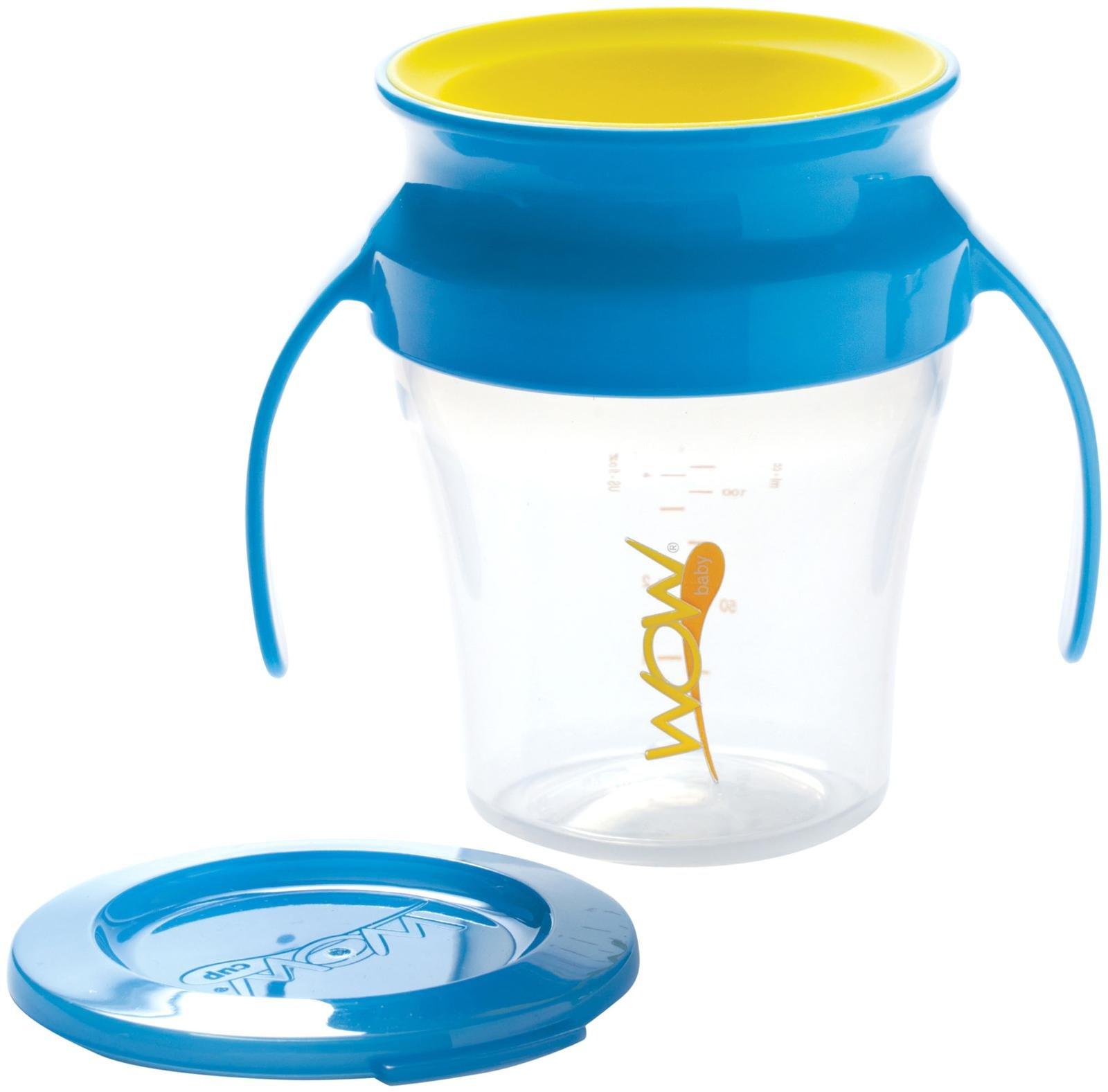 【安琪兒】美國【Wow Baby】360度握把喝水杯+蓋-藍色 0
