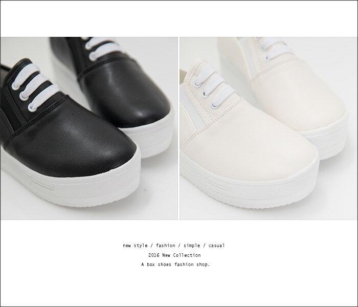 格子舖*【AAB113】MIT台灣製 嚴選韓版熱賣款 厚底增高5CM 基本皮革鬆糕鞋帆布鞋 2色 2