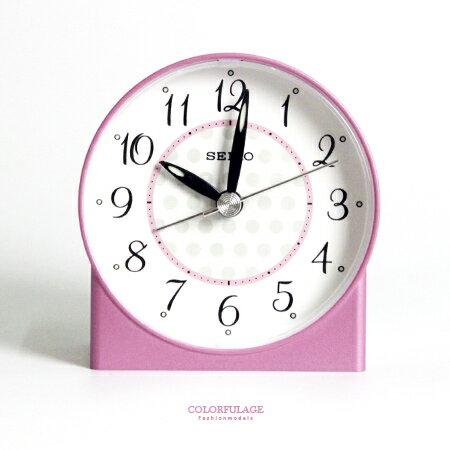 鬧鐘 粉色甜蜜 精工SEIKO普普風粉白圓形 鬧鐘 夜光.滑動式秒針 柒彩年代~NV169