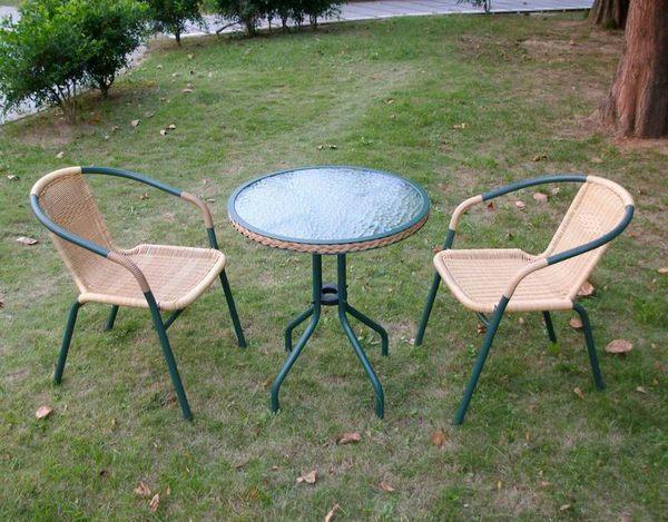 BROTHER 兄弟牌60cm編藤庭院圓桌+PE藤椅(綠色)